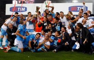 Napoli's players and staff members celebrates after winning their Italian Cup final soccer match against Juventus at the Olympic stadium in Rome