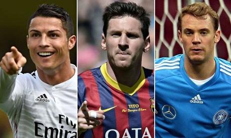 Cristiano Ronaldo, Lionel Messi and Manuel Neuer
